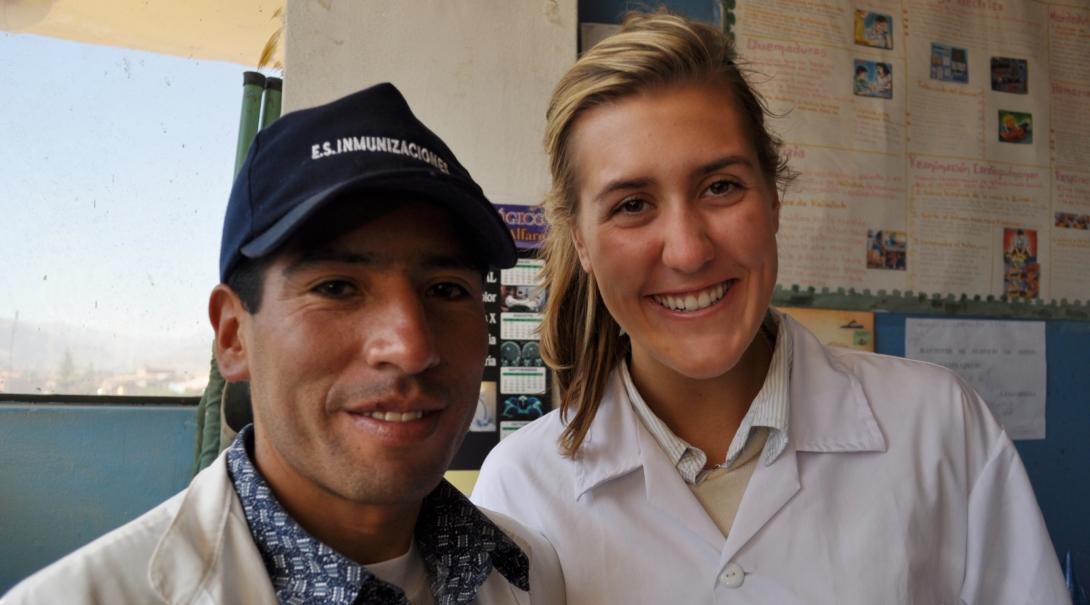 A Projects Abroad intern is seen smiling with the local doctor who she worked with during her medical internship in Peru.
